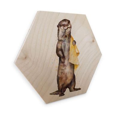 Hexagon - Holz Birke-Furnier Graves - Otter
