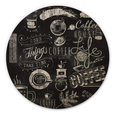 Holzbild World of Coffee - Rund
