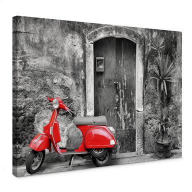 Leinwandbild Red Scooter schwarz-weiss