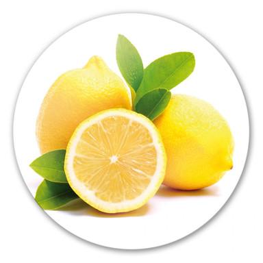 Glasbild Lemons rund