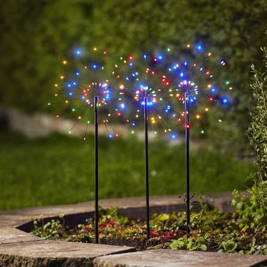 LED Dekorative Erdspiessleuchte Firework 3er-Set in Schwarz mit buntem Licht
