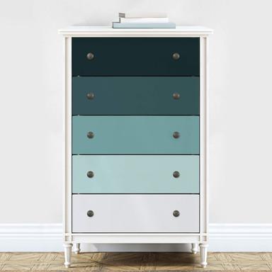 Möbelfolie, Dekofolie - abwischbar - Farbverlauf Petrol - 5er Set - Bild 1