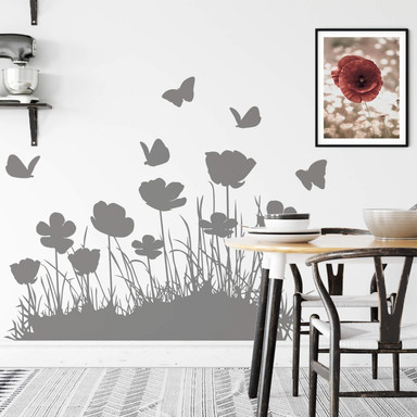Wandtattoo Mohnblumen mit Schmetterlingen