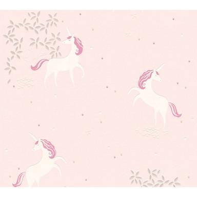 A.S. Création Vliestapete mit Glitter Boys & Girls 6 Tapete mit Einhörnern Unicorn metallic, rosa, weiss