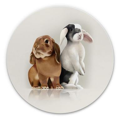 Alu-Dibond Braun - Bunny Love - Rund
