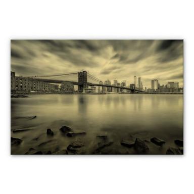 Alu-Dibond-Goldeffekt Javier - Brooklyn Bridge