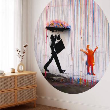 Fototapete Banksy - Coloured Rain - Rund