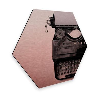 Hexagon - Alu-Dibond Kupfereffekt - Typewriter