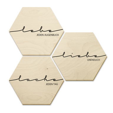 Hexagon - Holz Birke-Furnier - Lebe, Lache, Liebe (3er Set)