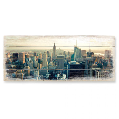 Holzbild Skyline von New York City - Panorama