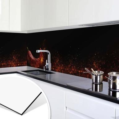 Küchenrückwand - Alu-Dibond - Chili on Fire