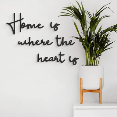 MDF-Holzbuchstaben Home is where the heart is (6-teilig)