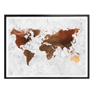 Poster Kupferoptik - Weltkarte