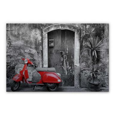 Alu Dibond Bild Red Scooter schwarz-weiss
