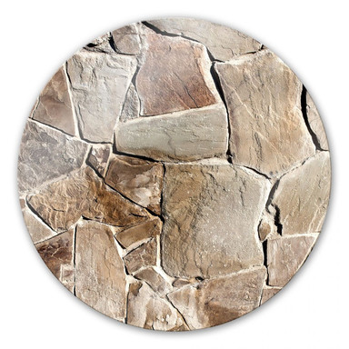 Glasbild Mediterrane Mauer - rund