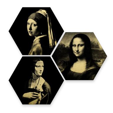 Hexagon - Alu-Dibond Goldeffekt - Berühmte Frauen der Kunstgeschichte (3er Set)