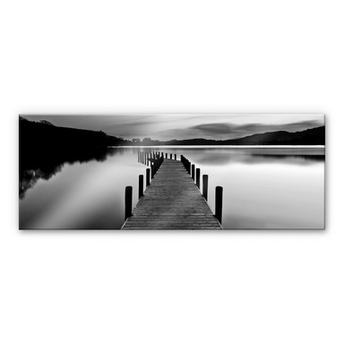 Acrylglasbild Seepanorama - schwarz/weiss