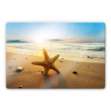 Glasbild Seestern im Sand