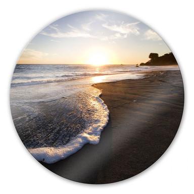 Glasbild Sonnenuntergang am Meer - rund