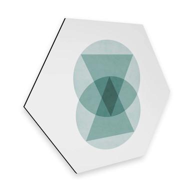 Hexagon - Alu-Dibond Nouveauprints - Circles & triangles aqua