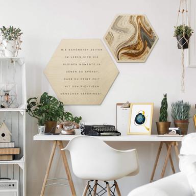 Hexagon - Holz Birke-Furnier - Die schönsten Zeiten im Leben (2er Set) - Bild 1