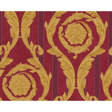 Mustertapeten Versace Wallpaper Tapete Barocco & Stripes Metallic, Rot