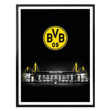 Poster - BVB Signal Iduna Park bei Nacht Emblem