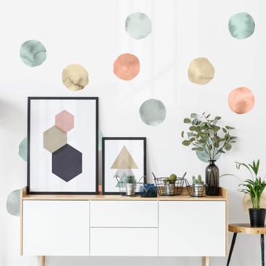 Wandtattoo Aquarell Kreise pastell - 102x107cm - 25-teilig