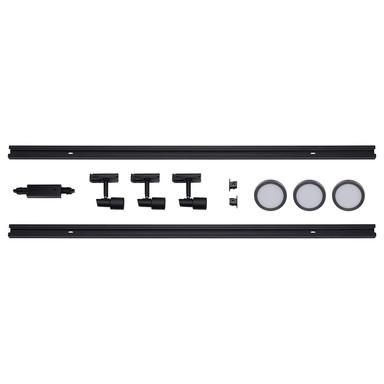 famlights | 1-Phasen Schienensystem-Set in Schwarz und Silber 2 Meter inkl. 3 Spots inkl. Leuchtmittel