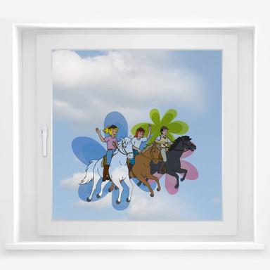 Fensterbild Bibi, Tina und Alex Ausflug