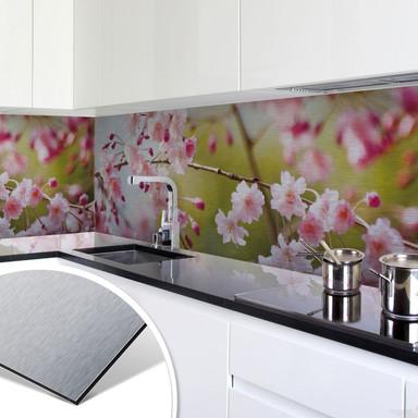 Küchenrückwand - Alu-Dibond-Silber - Cherry Blossoms