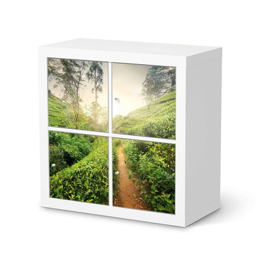 Möbelfolie IKEA Expedit Regal 4 Türen - Green Tea Fields
