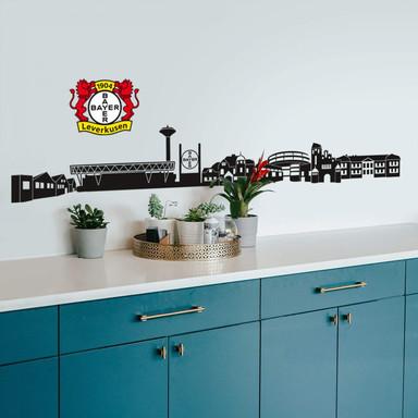 Wandtattoo Bayer 04 Leverkusen Skyline mit Logo farbig
