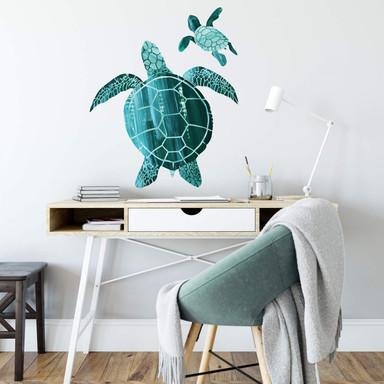 Wandtattoo Goed Blauw - Schildkrötenfamilie