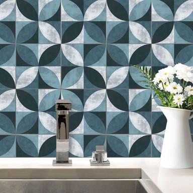 Fliesenaufkleber Abstract Flower Pattern - blau