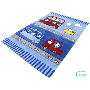 Funny Bus blau Handtuft Kinderteppich
