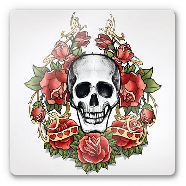Glasbild LA Ink Schädel mit Rosenkranz