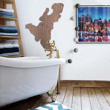 Holzkunst Mahagoni Furnier - Karte Benelux
