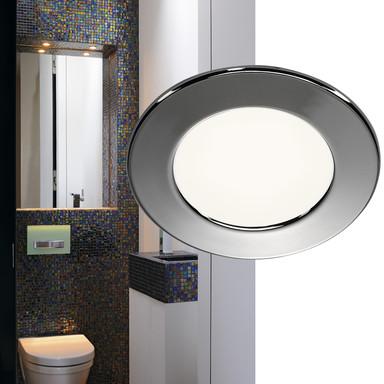 LED Einbauleuchte DL 126. rund, glänzender Chrom, 3000 K