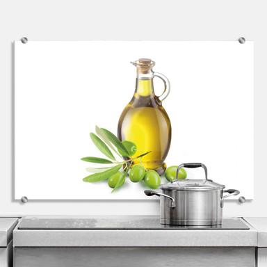 Spritzschutz Olives and a bottle