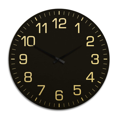 XXL Wanduhr Alu Dibond Goldeffekt - Klassisch mit Minutenanzeige negativ Ø 70cm - Bild 1