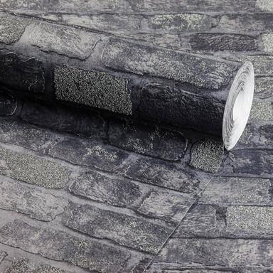 Anaglypta® Brick Bedford Square Vliestapete in Vintage Backstein Optik grau, schwarz