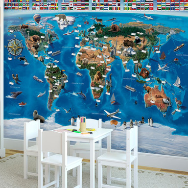 Fototapete Papiertapete Weltkarte und Flaggen