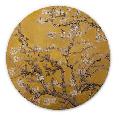 Holzbild van Gogh - Mandelblüte Ocker - Rund