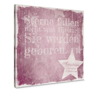 Leinwanddbild Wunschtext & Name - Sterne fallen nicht vom Himmel (rosa)