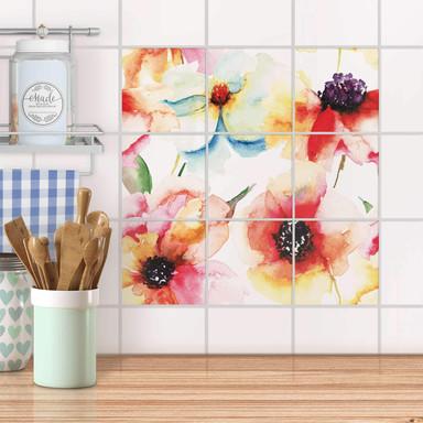 Klebefliesen - Water Color Flowers - 9er Set