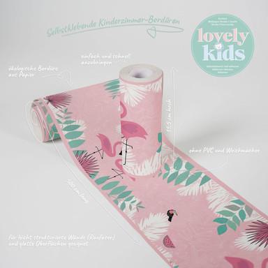 Lovely Kids selbstklebende Kinderzimmer Bordüre Flamingo Love mit Flamingos
