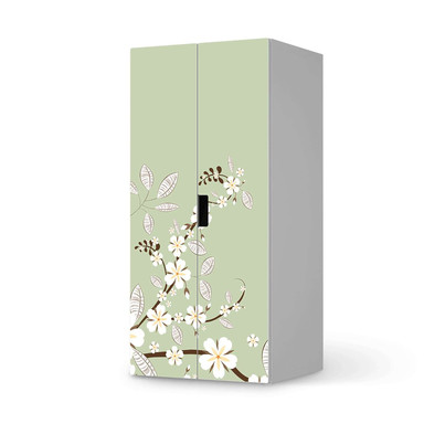 Möbelfolie IKEA Stuva / Malad Schrank - 2 grosse Türen - White Blossoms