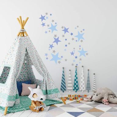Wandtattoo Sterne Set - pastellblau & grau - Bild 1