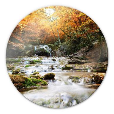 Glasbild Autumn Waterfall - rund